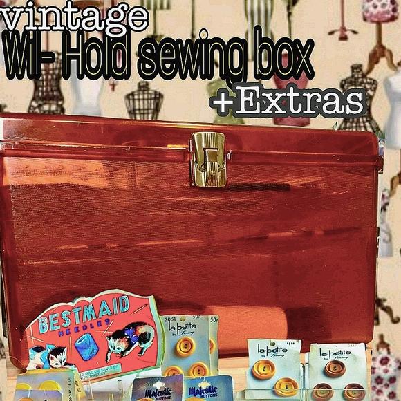 Vintage wil-hold sewing box+bonus extras